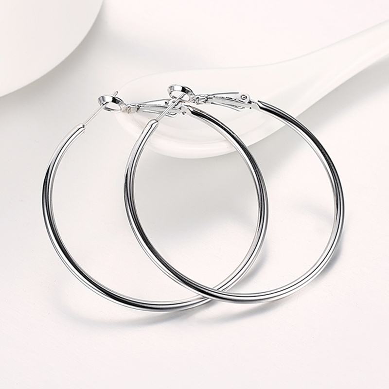 925 Silver Creole Circle Hoop Earrings For Women Christmas Earring Jewelry