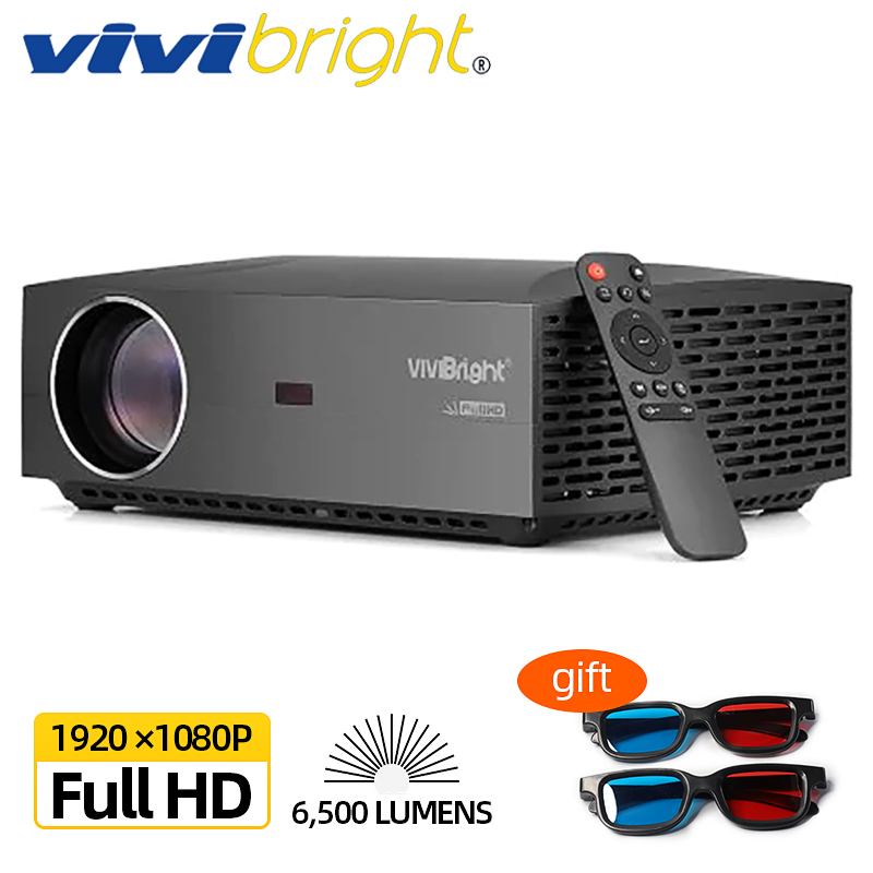 VIVI Bright Real Full HD 1080P Projector, Android 9.0, WIFI Bluetooth,3D Movie video Projector, TV Stick, PS4, HDMI For Sports
