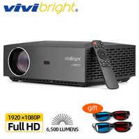 VIVIBright Real Full HD 1080P Android 9,0 WIFI Bluetooth 3D película proyector de video TV palo PS4 HDMI para deportes