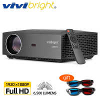 VIVIBright Real Full HD 1080P Projector, Android 9.0, WIFI Bluetooth,3D Movie video Projector, TV Stick, PS4, HDMI For Sports