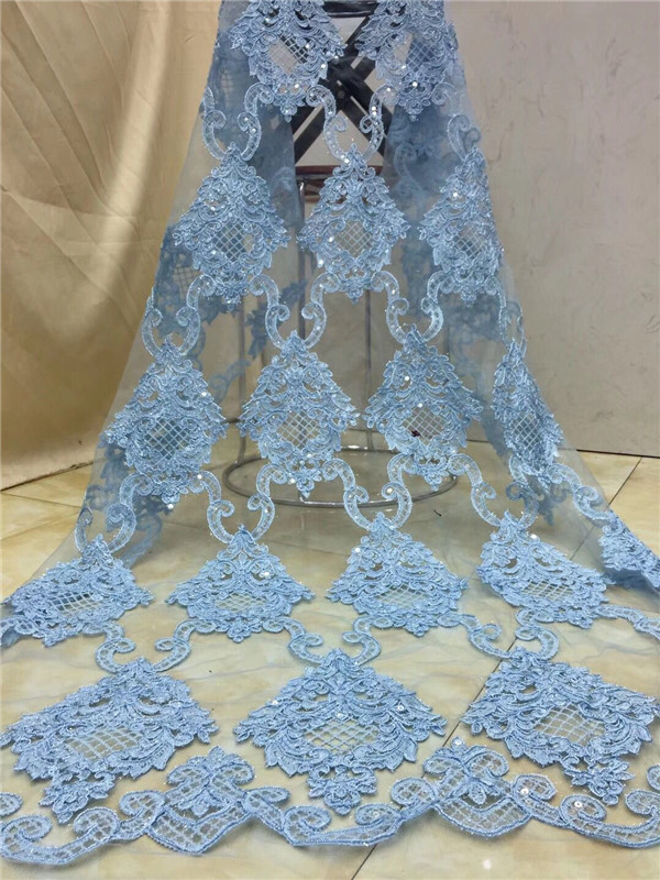 2018 high quality French Nigerian sequins net lace,African tulle mesh sequence lace fabric for party dress 5yards/lot white