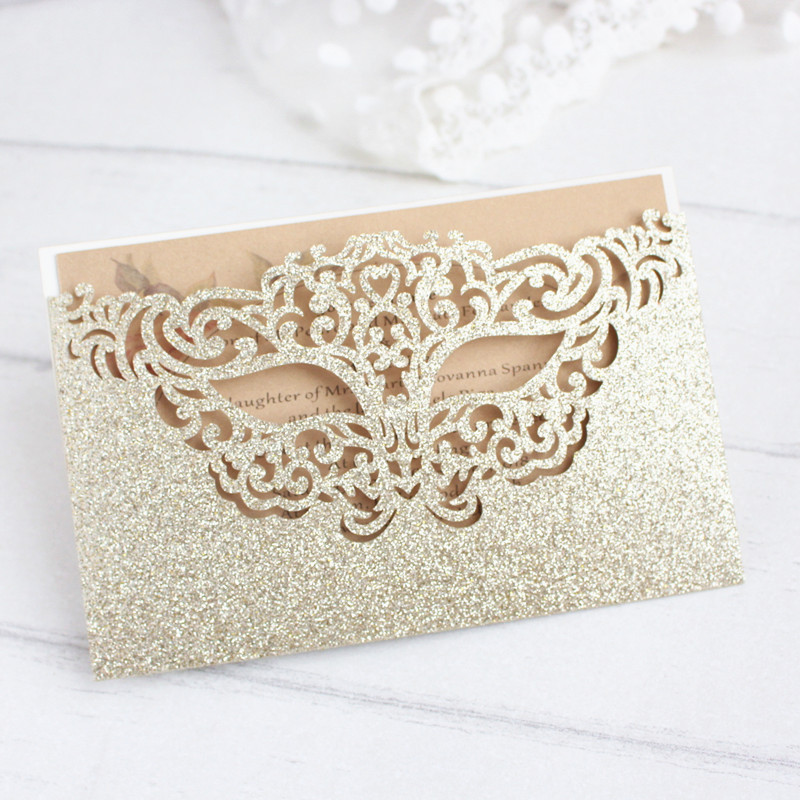 Glittery mask gift card laser cut birthday card pocket party invitation gold silver customized printing 50pcs