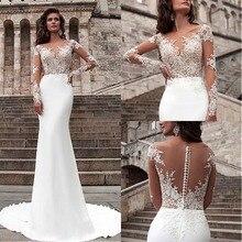 Wonderful Chiffon Bateau Mermaid Wedding Dresses Long Sleeve  Lace Appliques Bridal Gowns Sheer Illusion Vestidos de novia