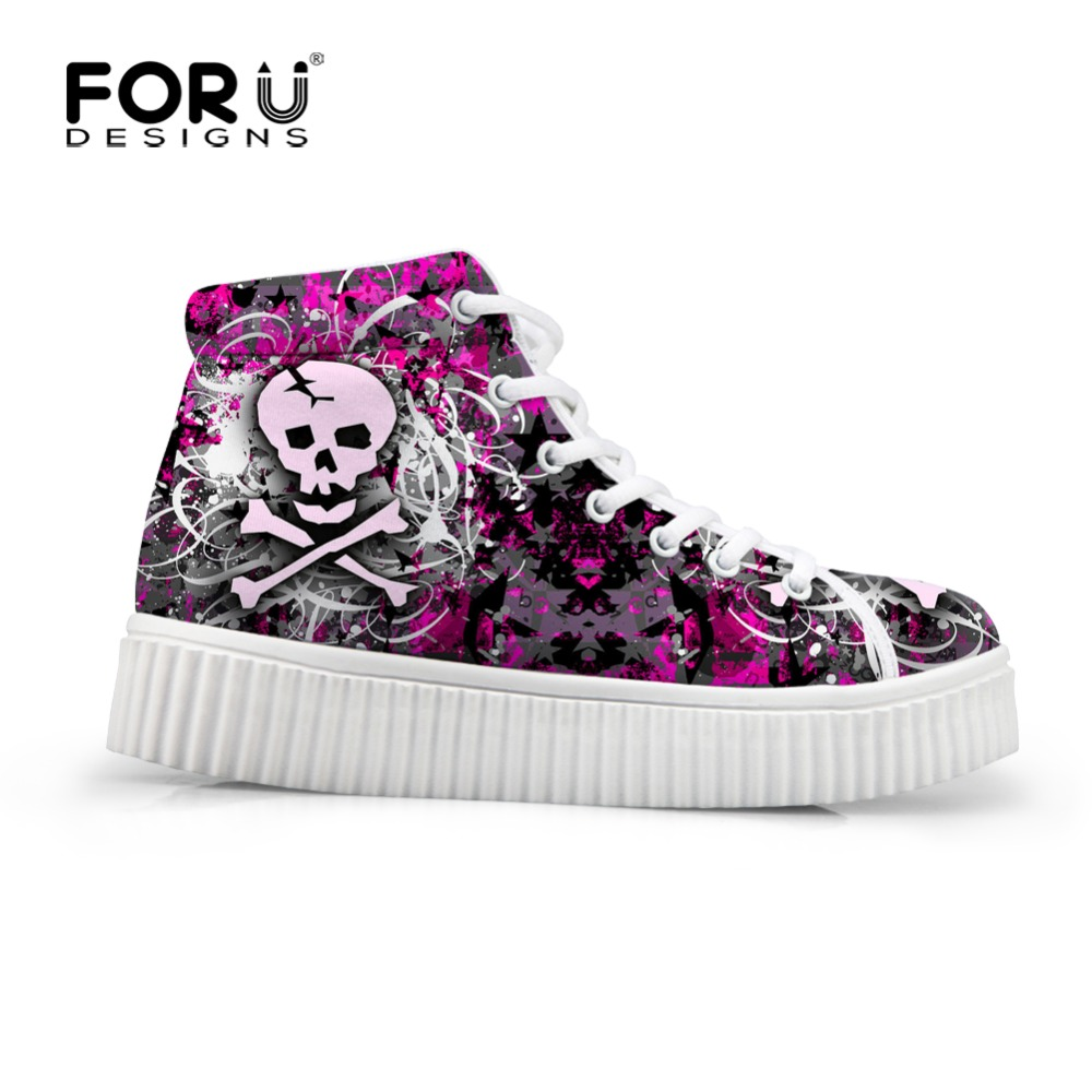 FORUDESIGNS Skull Pattern High Top Height Increasing Creepers for Women Autumn New Women's Sneakers Flats Platform Shoes Woman loz gas station diy building bricks blocks toy educational kids gift toy brinquedos juguetes menino