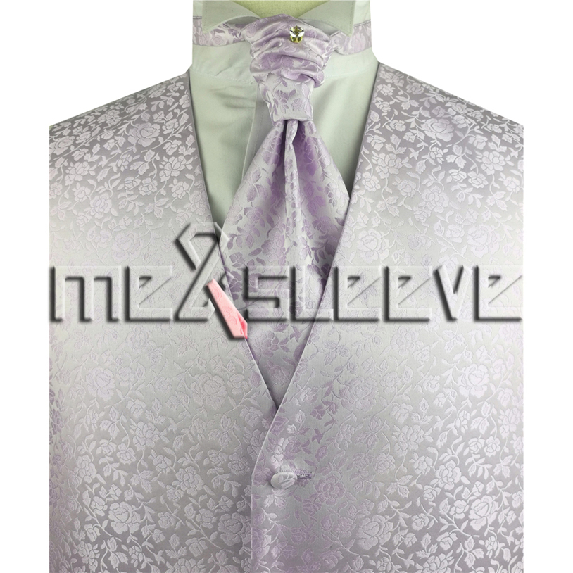 New arrival free shipping lavender floral formal vest and tie set (vest+ascot tie+cufflinks+handkerchief)