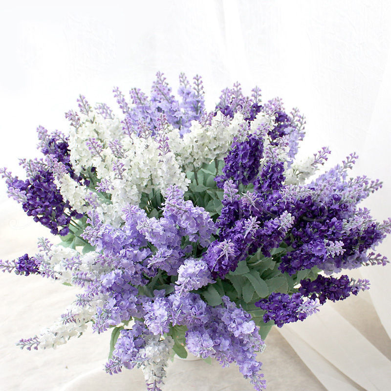 10 heads Bunches Silk Artificial Lavender Lily Flower Bouquet ...