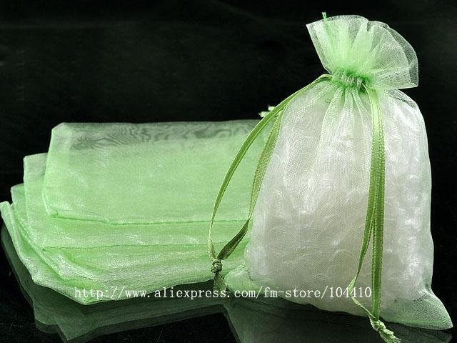 """5""""X7"""" Pure Green Organza Bags Jewelry Pouch Gift Bags Wedding Favor Suppliers"""