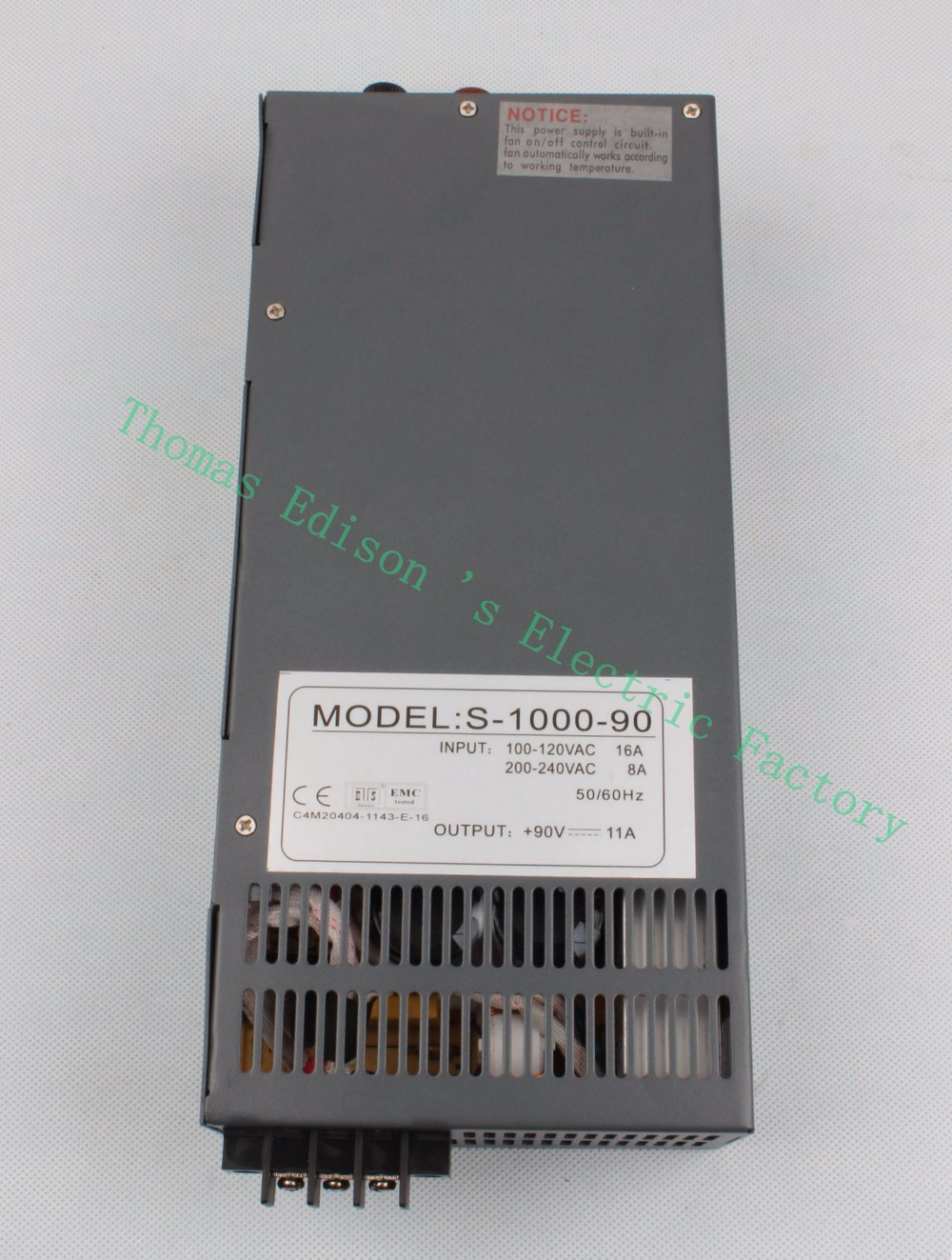 DIANQI 1000W 90V Switching power supply 11a AC to DC input 110v or 220v select by switch 1000w ac to dc power supply S-1000-90 meanwell 12v 350w ul certificated nes series switching power supply 85 264v ac to 12v dc