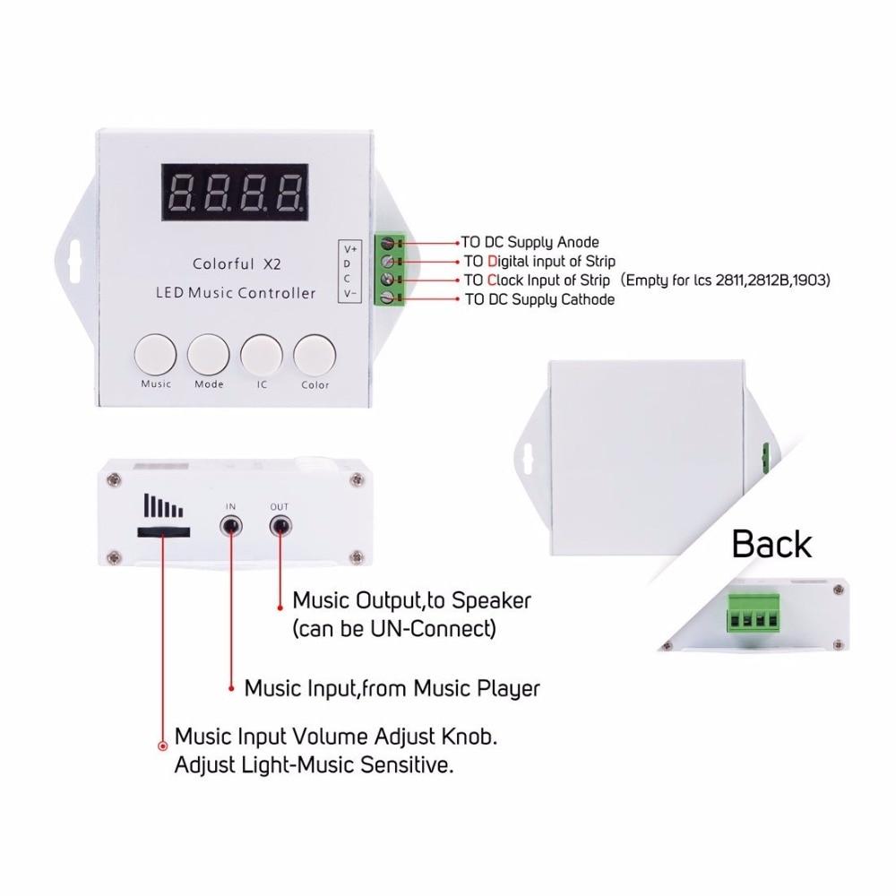 Controladores Rgb fita digital colorido música x2 Tensão : 5-24v