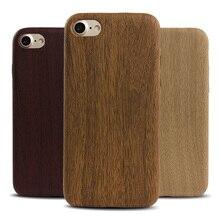 Teste padrão de madeira de luxo macio tpu phone case capa para iphone 7 6 6 s mais 5 5S se caso grão de madeira telefone de volta shell para o iphone 7 plus
