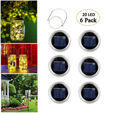 3/6/12 Packs of Solar Mason Jar Lights  20 Led Solar Garden Light String Wire Chain Fairy Regular Mouth Mugs Garden Decoration 6 pack kit turn any wide mouth mason jar into a fermenting crock