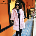 HONGZUO New 2016 Winter Pink Faux Fur Coat Women Thick Warm Fur Long Outerwear Three Quarter Sleeve Hooded Jacket Overcoat PC113