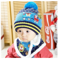 New 2014 Baby Winter Hats Cartoon Baby Boy Girl Woolen Plush Hats Newborn Baby Beanies Scarf