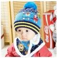 Novo 2016 Do Inverno Do Bebê Chapéus Dos Desenhos Animados Do Bebê Menino/Menina de Pelúcia De Lã Chapéus Gorros Bebê Recém-nascido + Cachecol Twinset (10 M-3 Anos de Idade)