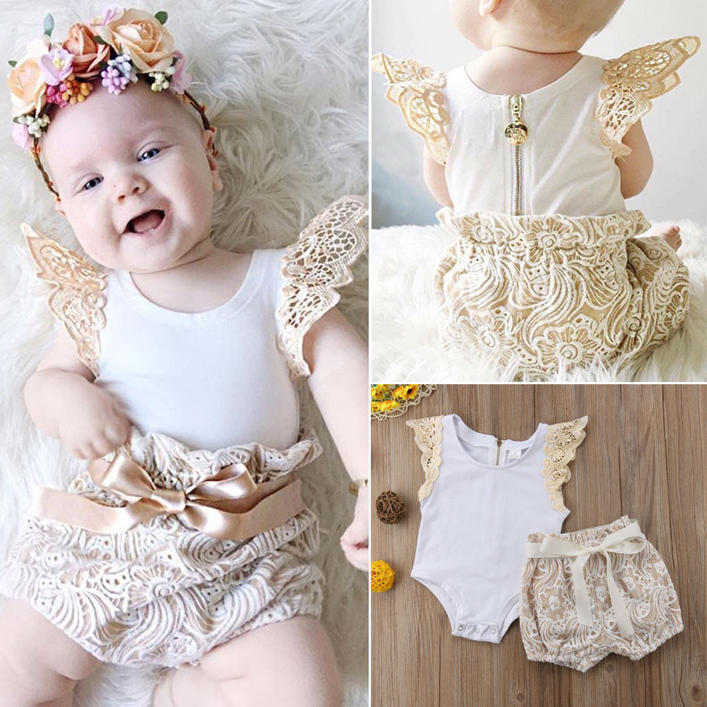 116bd4491e7cb 2Pcs Baby Rompers Set Newborn Toddler Baby Girl Clothes Flying Sleeve  Rompers Floral Lace Shorts Summer