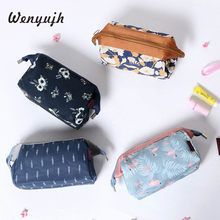 WENYUJH neceser Flamingo Cosmetic Bag Women Necessaire Flower Make Up Bag Travel Waterproof Portable Makeup Bag Toiletry Kits #N(China)