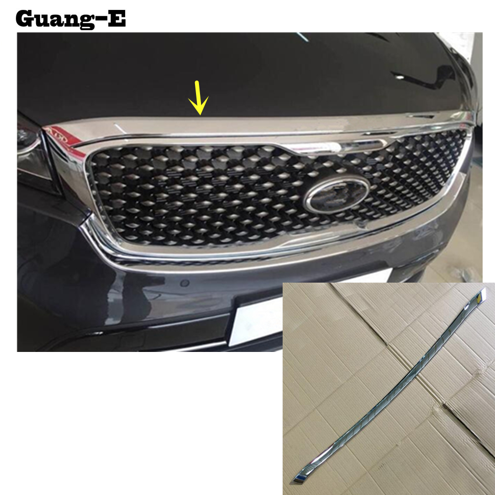 Car garnish cover ABS Chrome front engine Machine grille Grid Grill lid trim lamp 1pcs For Kia Sorento L 2015 2016 2017 2018 high quality for toyota highlander 2015 2016 car cover bumper engine abs chrome trims front grid grill grille frame edge 1pcs