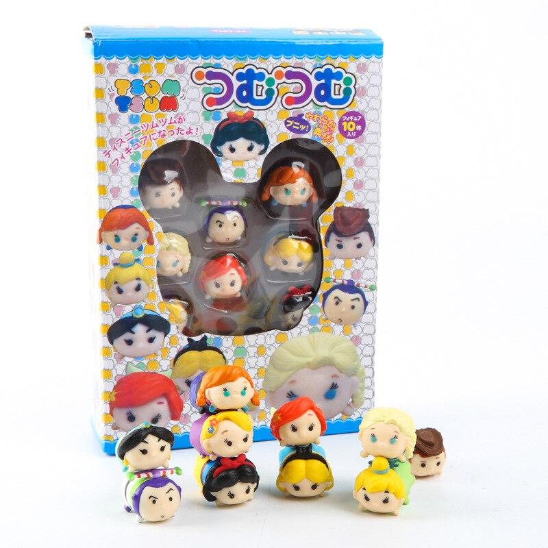 10ピース/セットミニフィギュア置物エルザアンナ雪シンデレラプリンセスウッディアクション人形玩具juguetes用子供ギフト