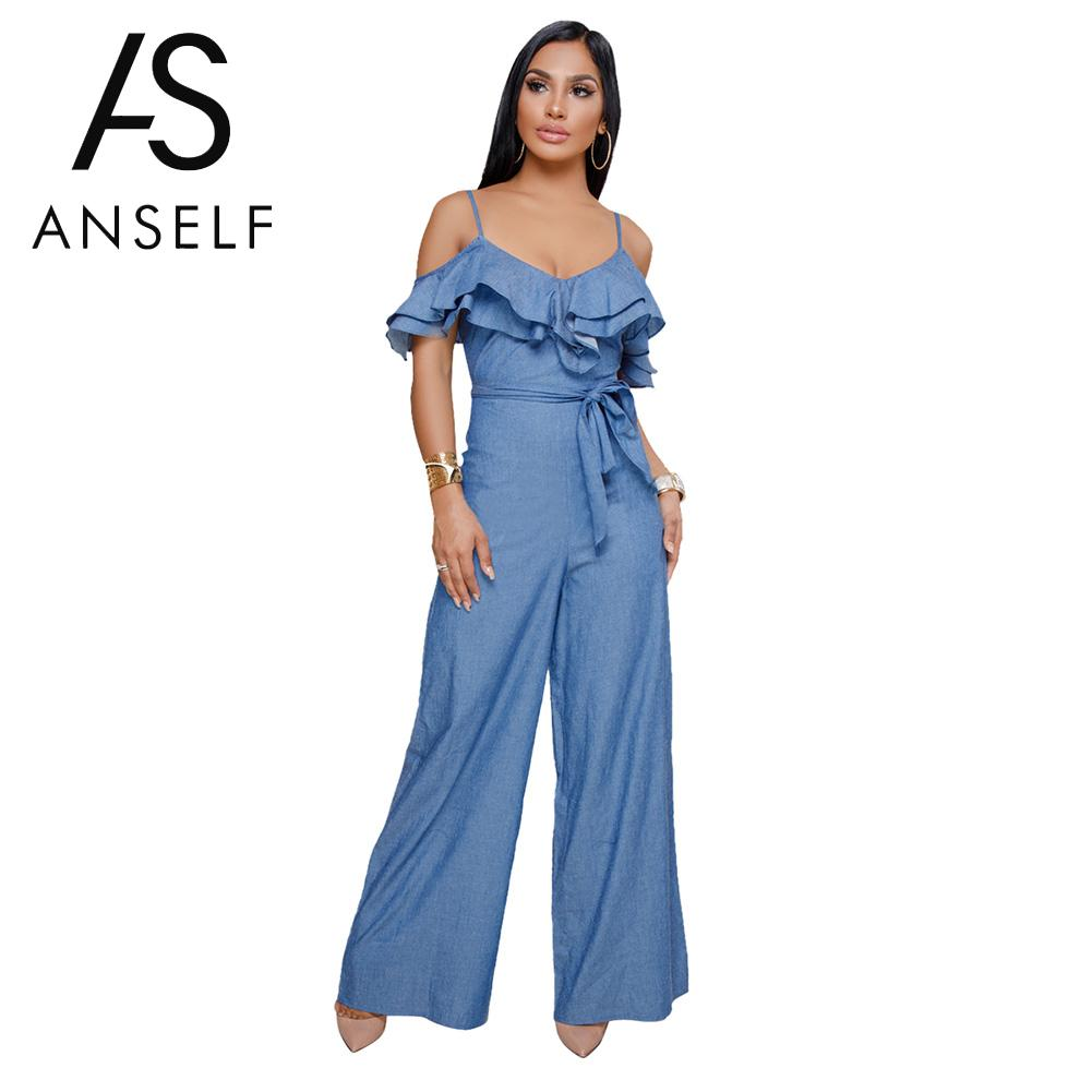 HOT Denim Rompers Women   Jumpsuit   Ruffles Cold Shoulder Tracksuit Sashes Zipper Wide Leg Pants Overalls female Pantsuit One Piece