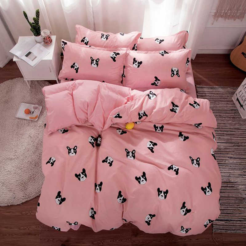Dog Cat Animal Pattern Duvet Cover Sheet Pillow Case Bedding Set Cotton Bed Linen Kids Comforter Quilt Single Queen Size24