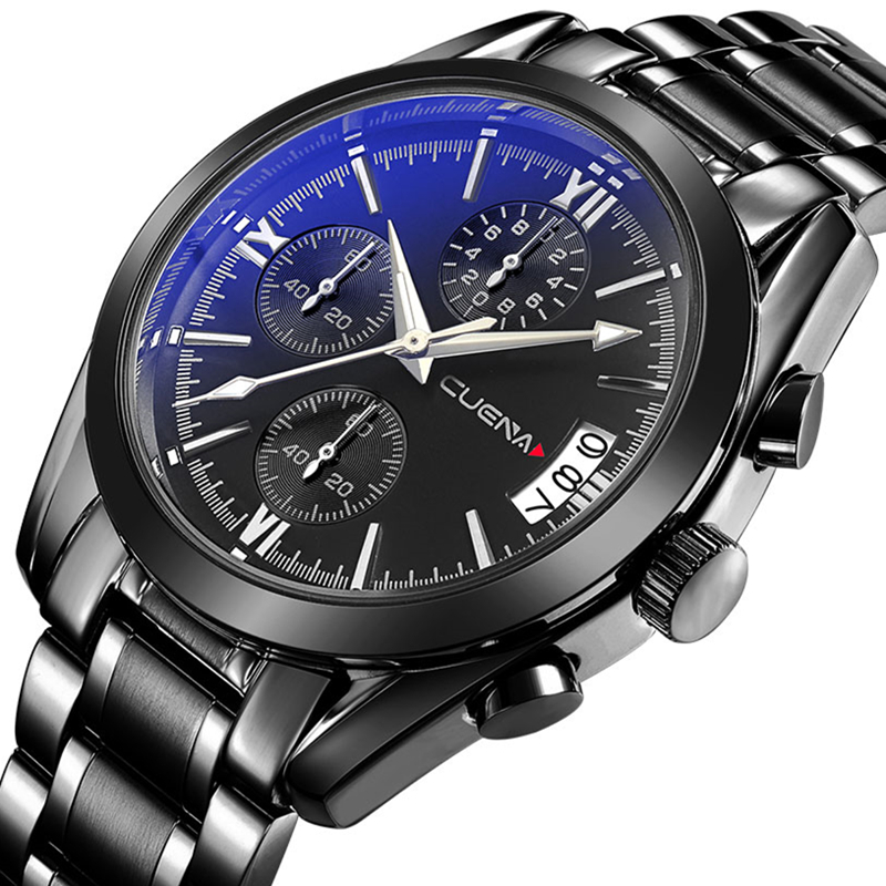 CUENA Fashion Mens Watches Top Brand Luxury Stainless Steel Men Quartz Watch Waterproof Man Sport Wristwatches Relogio Masculino men fashion quartz watch mans full steel sports watches top brand luxury cuena relogio masculino wristwatches 6801g clock
