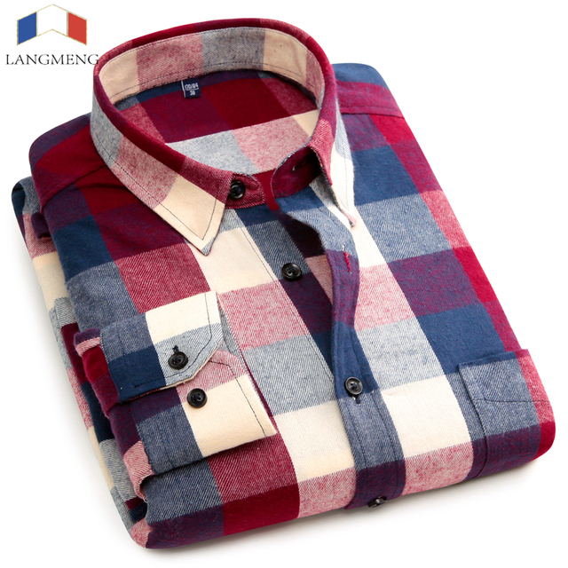 Langmeng 100% Cotton Spring Long Sleeve Plaid Flannel Men Shirt Dress Shirts Slim Fit Mens Casual Shirts Camisa Free Shipping