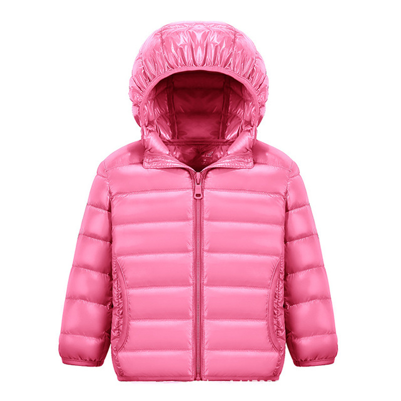 90% White DucK Down Winter Jackets for Boys Girls Ultra Light Portable Hooded Down Coat Overalls for Children Baby Down Jacket 4