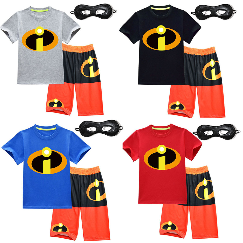 The Incredibles 2 cosplay Costume Halloween Superman Costume Short sleeve set pajamas For Kids Party Carnaval Toddler set/mask