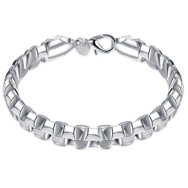 Lostpiece Men S 925 Sterling Silver Bracelet Double Rows Box Chain 8 3 7mm Fashion