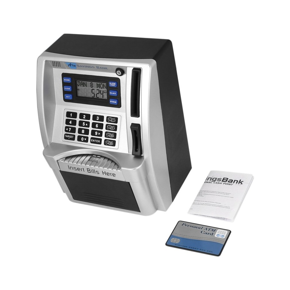 ATM Savings Bank Toys Kids Talking ATM Savings Bank Insert Bills Own Personal Cash Point With Calendar  Alarm Clock DropATM Savings Bank Toys Kids Talking ATM Savings Bank Insert Bills Own Personal Cash Point With Calendar  Alarm Clock Drop
