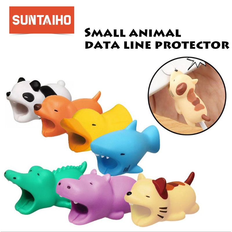 Suntaiho Cable bite Protector for Iphone cable Cable Chompers Animal Protectors Bite Animal doll model funny Phone holder