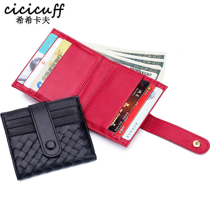 CICICUFF Women Weave ID Credit Card Case Coin Holder Sheepskin Leather Wallet Thin Mini Purse Hasp Card Holder Purse Pockets