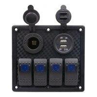 Universal Waterproof Auto ATV Marine Boat 4 Gang Circuit Blue LED Rocker Panel Switch Car Accessories