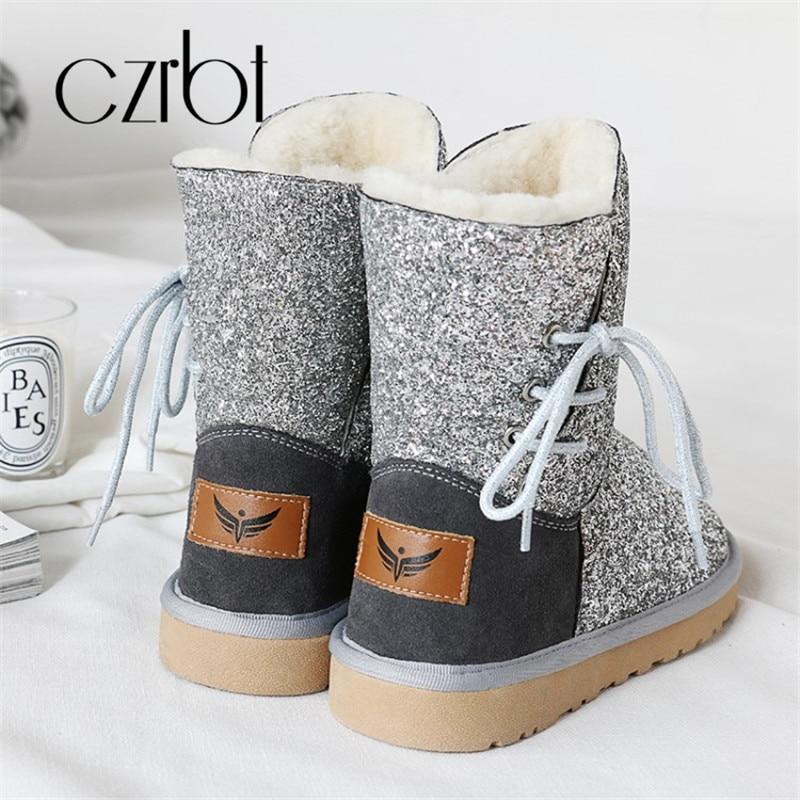 Cxrbt 2018 nouveau hiver en peluche chaud mode paillettes tissu femmes bottes de neige plat avec hauteur de talon bout rond antidérapant femmes chaussures - 5