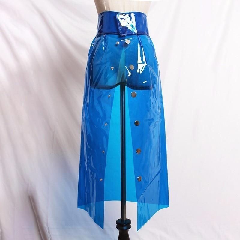 LANMREM 201 Fashion New Transparent Crystal PVC Plastic High Waist Single-breasted Skirt High Waist All-match Bottoms YG007