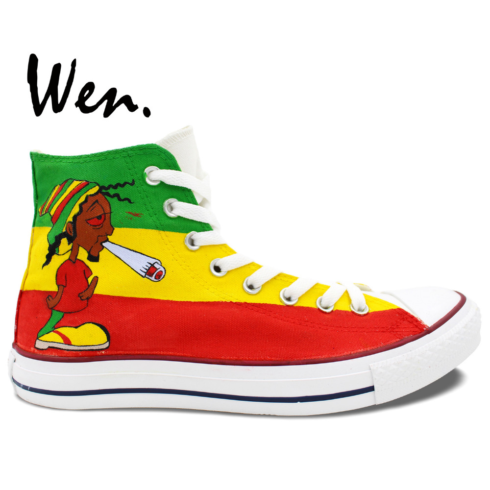 Wen Unisex Hand Painted Shoes Custom Design Jamaica Reggae Music Men Women's High Top Canvas Shoes Sneakers Birthday Gifts wen blue hand painted shoes design custom shark in blue sea high top men women s canvas sneakers for birthday gifts