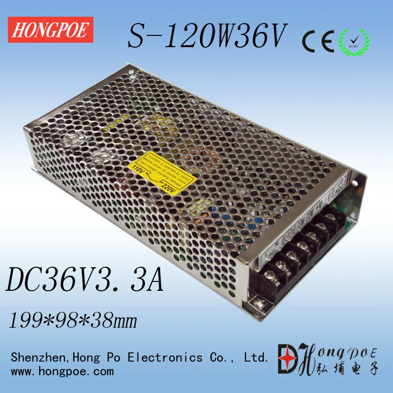 Best quality 36V 3.3A 120W Switching Power Supply Driver for LED Strip AC 100-240V Input to DC 36V free shipping ac 85v 265v to 20 38v 600ma power supply driver adapter for led light lamp