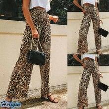 Summer Wide Leg Pants 2019 New Women Summer Casual Button High Waist Loose Leopard Print Wide Leg Pants letter print wide leg pants