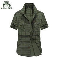 2017 New Men's Short Sleeve Shirts Cotton Casual Plaid Shirts Slim Fit AFS JEEP Brand Clothing Short Sleeve Men Shirt D59