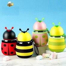 RUIDA Cartoon Little bee Ladybug Water Bottle Kids Students Children Drink Birthday Gift ST032