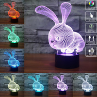 Cute Cartoon Rabbit 3D LED Night Light 7 Color Change Touch Control Table Lamp Child Bedroom