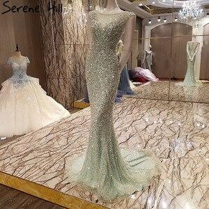 Image 3 - Vestido de noche de tul de sirena elegante, Sexy, de lujo, Lentejuelas de cristal larga, brillante, foto Real, LA6091, 2020