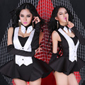 2016 High quality Women hip hop dance costume set sexy Jazz ds The temptation to maid outfits Dance performance wear jumpsuits