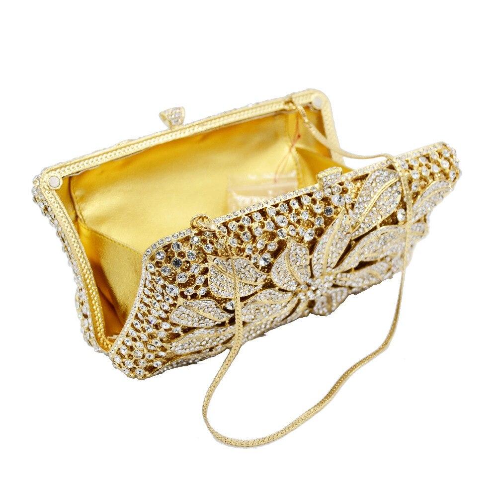 Bagaj ve Çantalar'ten Üstten Saplı Çanta'de Altın Gümüş Çiçek Çanta Elmas Kristal Kadın Parti Mini Çanta Fuschia el çantası Düğün Çantası SC752'da  Grup 3