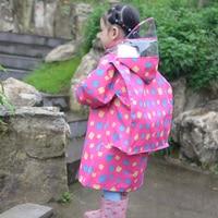 Cute Raincoats for Children Cartoon Printed Rainwear Waterproof Eco friendly Kids RainCoat Schoolbag Boys Girls Raincoat R5C034