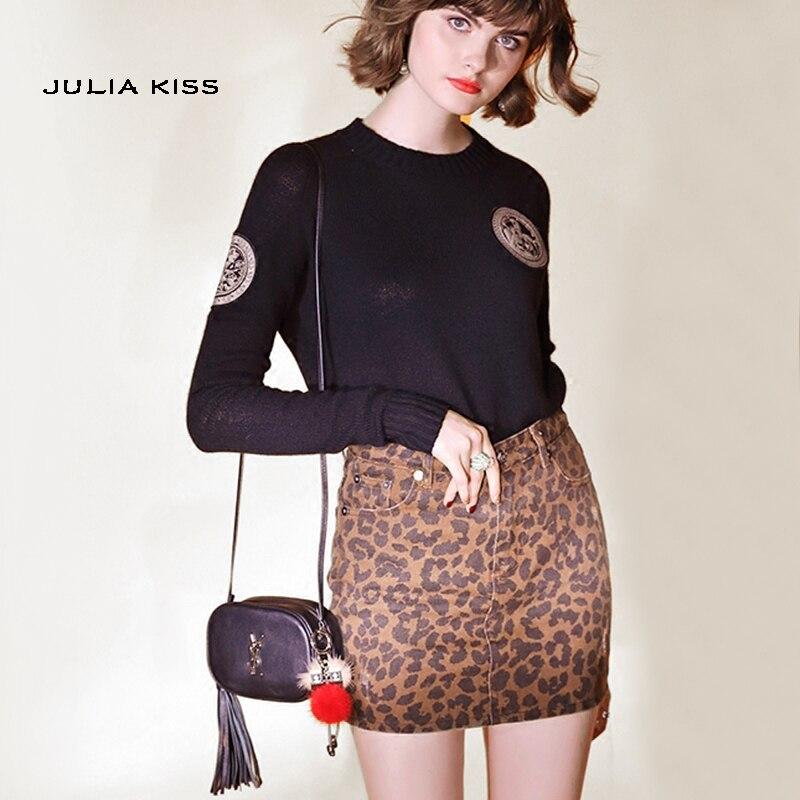 Women  Zip Up Pockets Front Leopard Print Denim Skirt