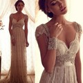 Beach 2016 Luxury Bohemian Style Sexy Backless Lace Wedding Dresses Crystal Beaded Boho Bridal Gowns Robe De Mariage