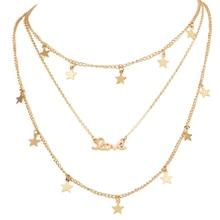 Female Jewelry Choker Multi-layers Star Love Pendant Chain Necklace Pentagram Letter