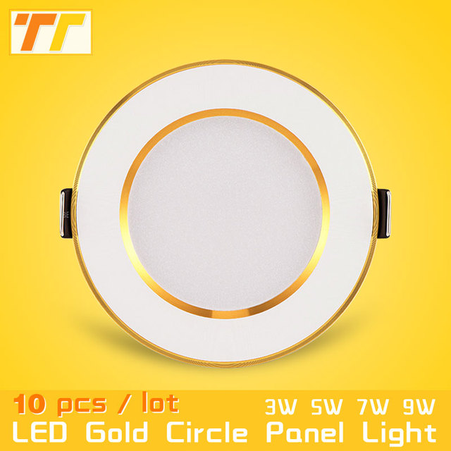 10pcs/pack led downlight 3w 5w 7w 9w 12w 15w 18w ceiling recessed gold downlights high quality round panel light free shipping