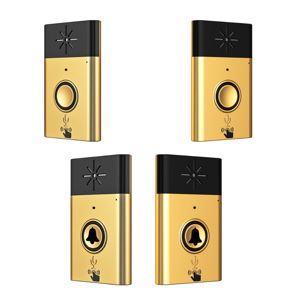 XINSILU New Arrival Digital Wireless Audio Doorbell,home security intercom system doorphone Gold color 2outside bell+2inner bell
